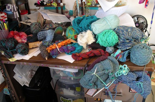 My desk, covered in yarn