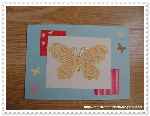 vlinder kaart (geborduuurd)