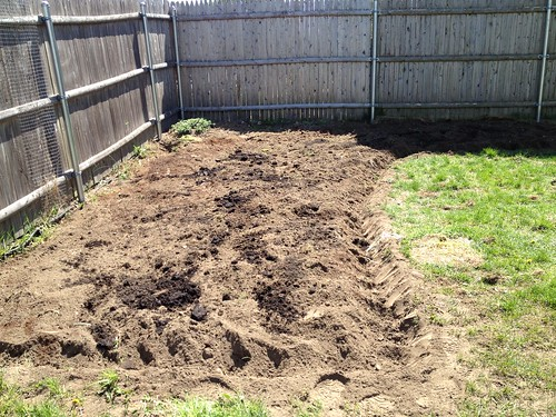 Tilled new garden section - long view