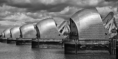 Storm looming over the Thames Barrier