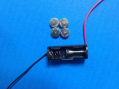 5 coin cell batteries + 1 screw fit in the holder