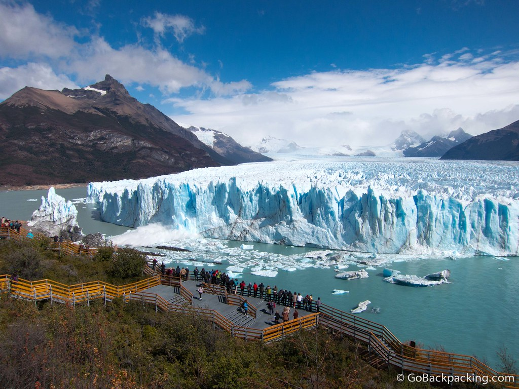 Visitors can safely watch ice calving off Perito Moreno Glacier