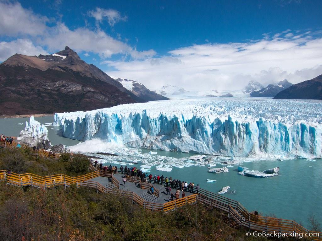 Visitors can safely watch ice calving off Perito Moreno Glacier