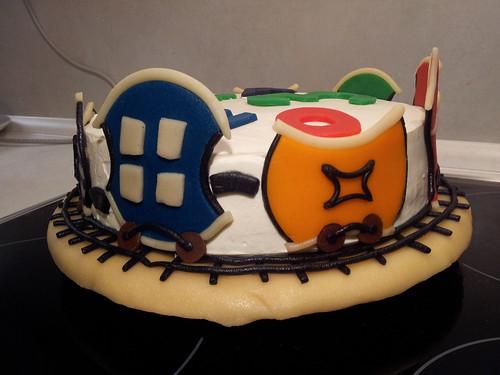 narozeninový dort s vláčky