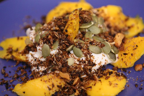 Atualfo Mango with Yogurt, Honey, Raw Pumpkin Seeds, Flax, and Spent Grain Granola