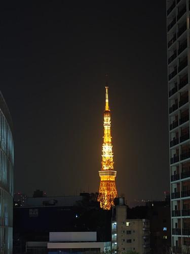 六本木ヒルズから望む夜の東京タワー