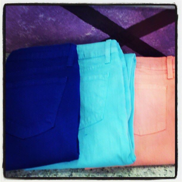 royal, turquoise, and peach jeans