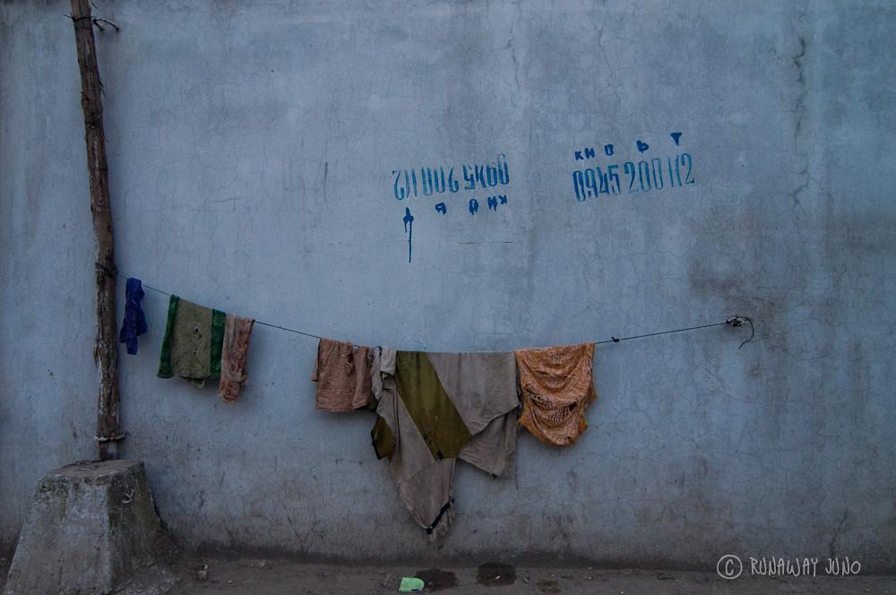 Advertisement and Laundry in Hanoi Vietnam