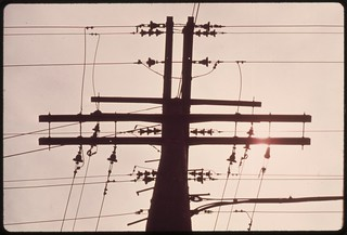 Power pole in the Malibu Canyon area of the Santa Monica Mountains near Malibu, California, which is located on the northwestern edge of Los Angeles County, May 1975