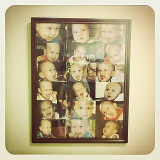 Dad put a bunch of Timmy's 4R prints in one big frame. Instant collage of cuteness!
