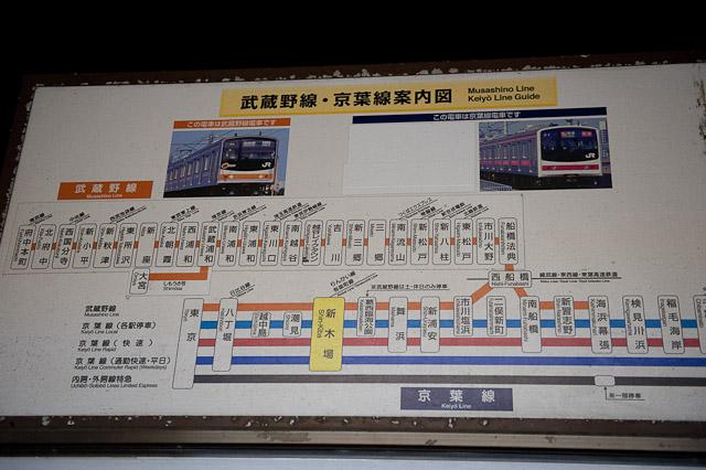 新木場駅の武蔵野線・京葉線案内