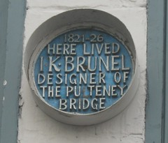 Photo of Isambard Kingdom Brunel and Pulteney Bridge blue plaque