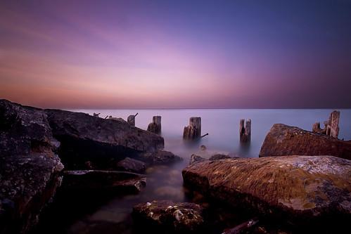 light sunset sky chicago beach beautiful coast nikon rocks long exposure smooth fullerton d700