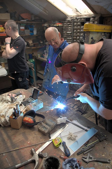 Tim Hunkin shows Dominic how to weld