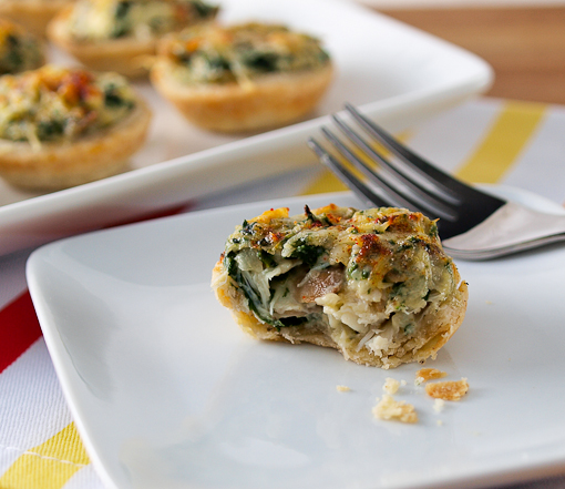 Mini Crab, Spinach, and Mushroom Tarts - Evil Shenanigans