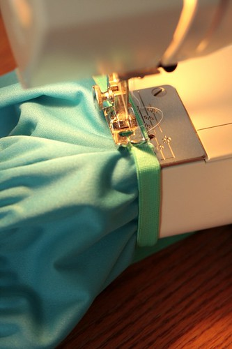 sewing on the leg elastic