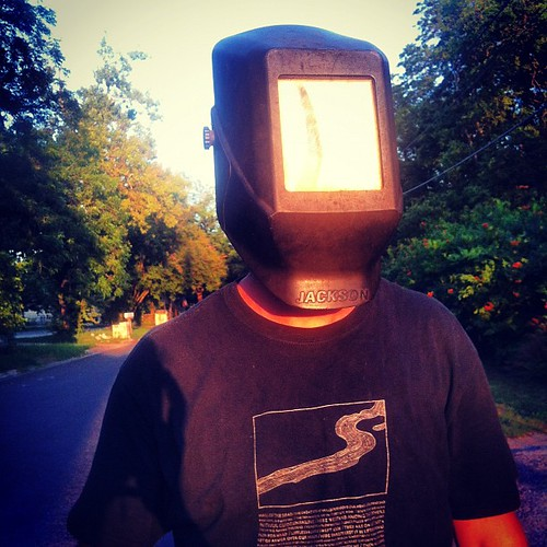 Watching the eclipse with Colin & his welding hood! So freaking awesome.