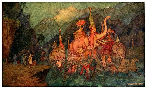 005-El retorno de los heroes muertos en batalla-Indian myth and legend 1913-Warwick Goble