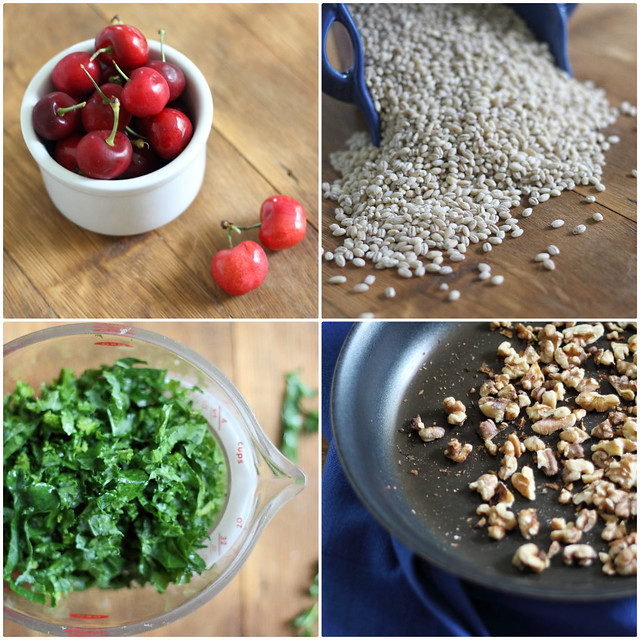 Barley kale and cherry salad