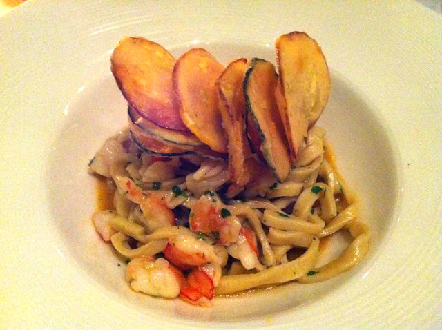 Hand Made Spaghetti with King Prawns and Zucchini Chips, PepeNero