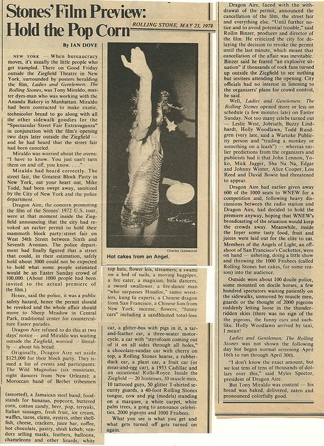 1974 New York City: 05/23/74 Rolling Stone Magazine - Rolling Stones Movie Review