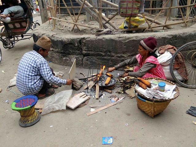Selling BBQ Corn on the streets of Kathmandu