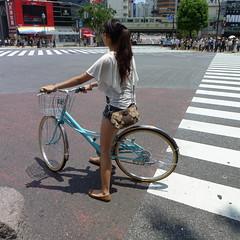 Shibuya Tokyo Woman on Bicycle