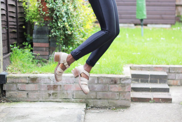 American Apparel disco pants review fashion blogger outfit post buckle sandals