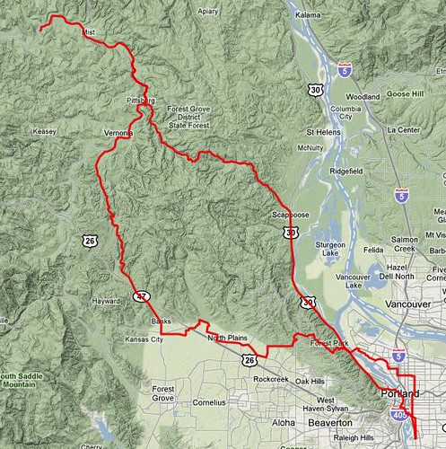 The route of Sellwood-Birkenfeld-Sellwood