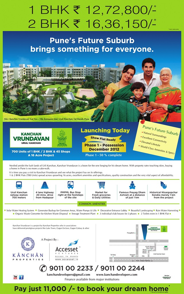 English Launch Ad of Kanchan Vrundavan, 1 BHK & 2 BHK Flats at Koregaon Mul, near Uruli Kanchan Pune 412202