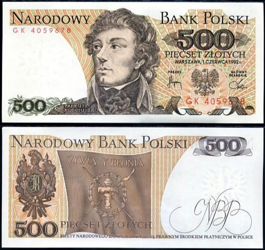 500 Zlotých Poľsko 1982, Pick 145