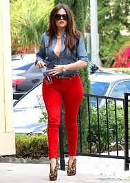 Khloe Kardashian Denim Shirt Celebrity Style Woman's Fashion