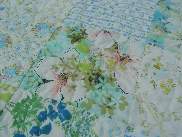vintage sheet quilt, close-up 2