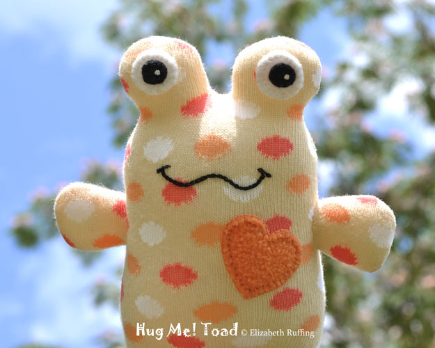 Soft Yellow and Orange Hug Me Sock Toad, with polka dots, original art toys by Elizabeth Ruffing