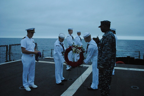 The crew from USS Gary held a sunrise ceremony and laid a wreath in the coastal waters of San Diego