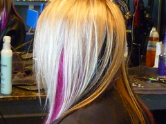 highlights with pink and black extensions added