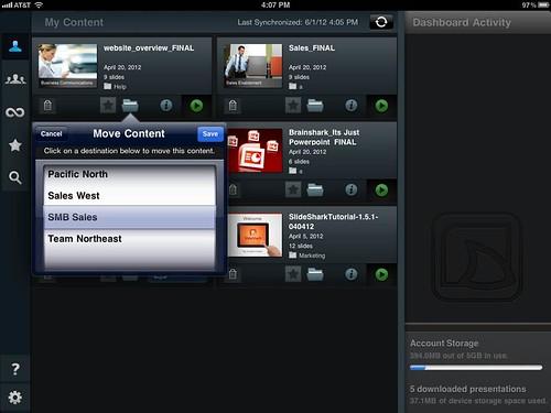 SlideShark v1.7 folders capability app view