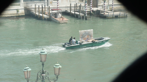 Boat on Grand Canal with Large Painting