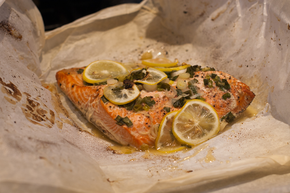 Salmon and scallions in paper