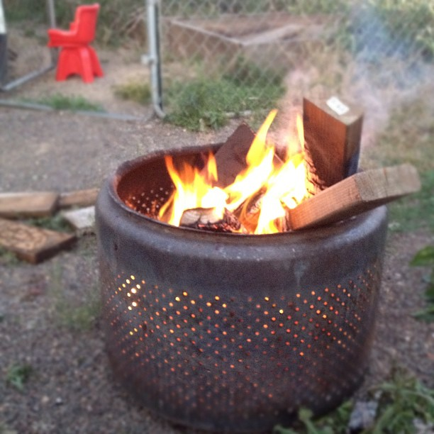Burn barrel made out of a washing machine drum! | Flickr ...