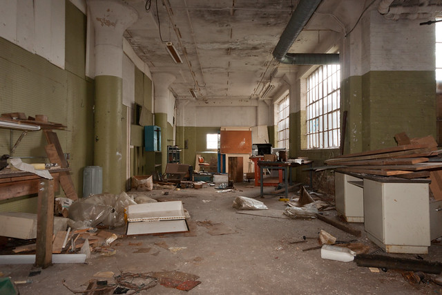 Messy Factory Floor Abandoned Barber Colman Factory In