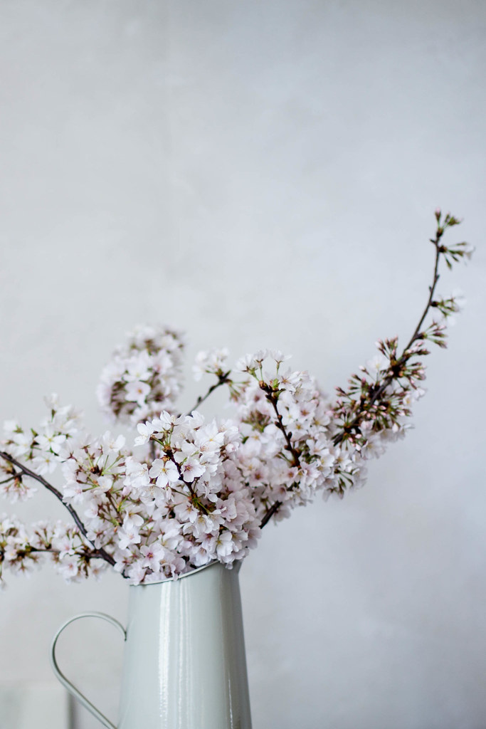 foraged spring florals, cherry blossoms
