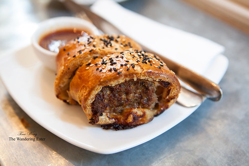 Free range lamb & pine nut sausage rolls with a side of tangy barbecue sauce