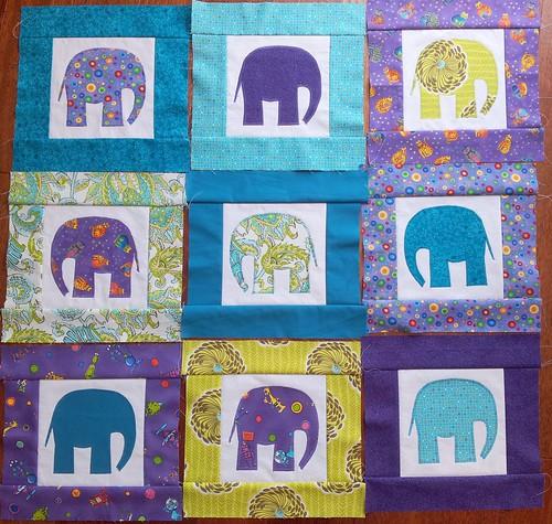 Elephant Cot Quilt 07