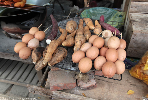 Lao-style roadside food; egg custards and potatoes