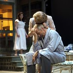 Diane Davis as Ann Deever, Karen MacDonald as Kate Keller, and Will Lyman as Joe Keller in the Huntington Theatre Company production of ALL MY SONS playing at the BU Theatre. Part of the 2009-2010 season.