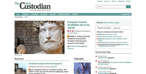 The New Custodian theme front page