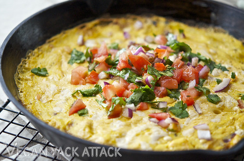 Cast iron skillet of vegan tex-mex frittata