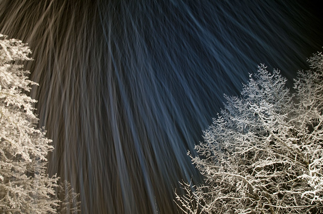 Long Exposure showing motion of snow falling at night time