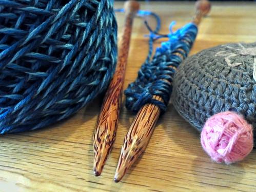 odin's new knitting sticks and yarn.